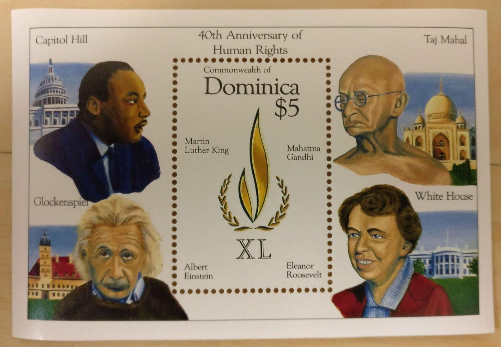 Купить DOMINICA - HUMAN RIGHTS S/S GANDHI - EINSTEIN - MARTIN LUTHER KING - ROOSEVELT