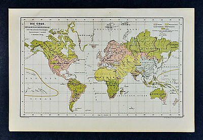 c1885 Hartleben Map World Religion Christian Buddhism Islam Hindu Tribal Culture
