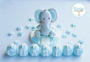 BOYS BLUE EDIBLE ELEPHANT CAKE TOPPER DECORATION SET CHRISTENING BIRTHDAY TEDDY