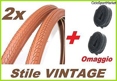 2 Reifen Vintage Braun 26 x 1 3/8+2 Fahrradschläuche Kompatibel in Geschenk (26 In Fahrrad-reifen)