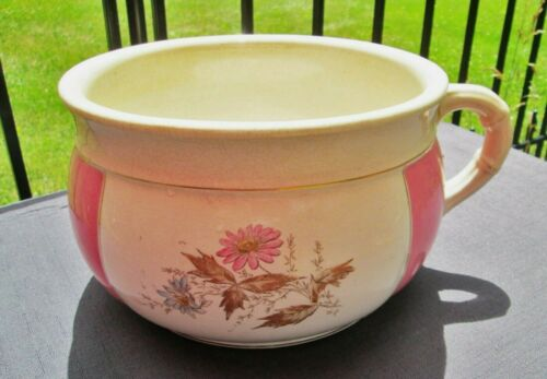 Antique Porcelain Chamber Pot HAVANA Pink with Daisies Transferware Pottery Bowl