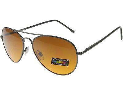 Sunglasses for Men Women Blu Buster Driving Pilot Aviator Spring Hinge Gunmetal