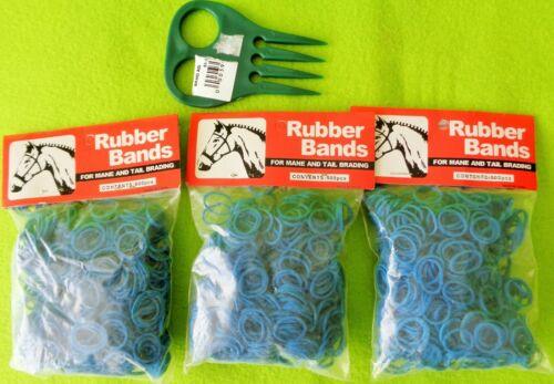 3 Packs 500~1500 BLUE Elactic Rubber Band MANE~Tail Braid Braiding BANDS & COMB