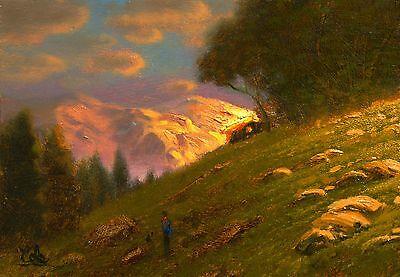 original oil painting landscape signed on canvas vintage antique style 5020 COLE
