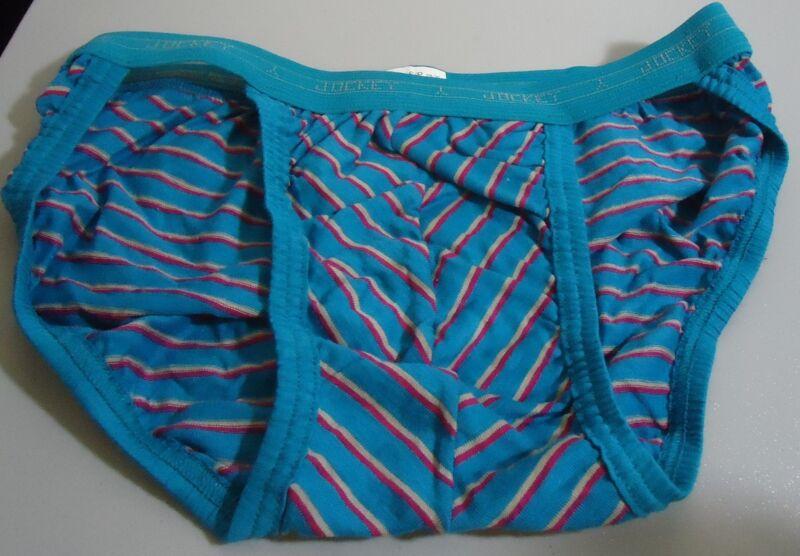 NOS Vtg Jockey  Teal Striped Cotton Bikini Briefs S 28-30 Oldstock  USA Made