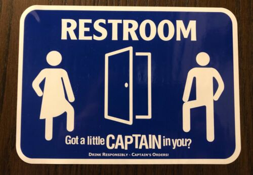 Captain Morgan Rum Men and Women  Bathroom Lavatory Decals Signs Free Shipping