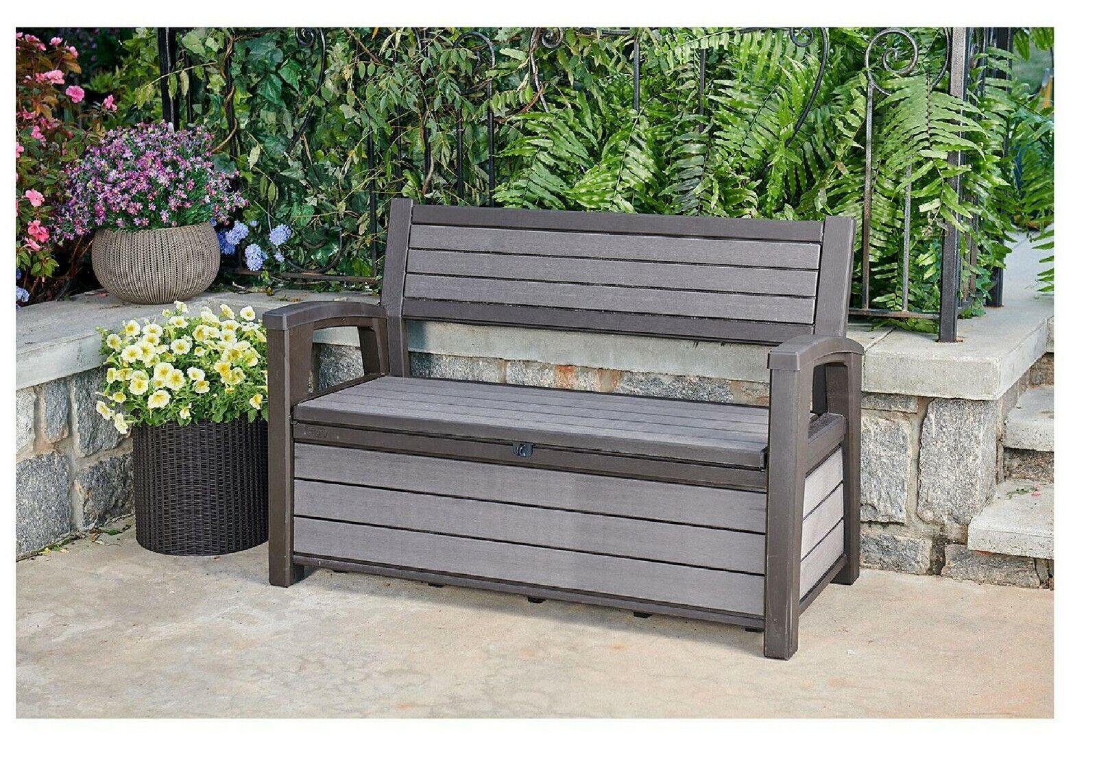 Keter Hudson Plastic Storage Bench 60 Gallon Deck Box, Grey