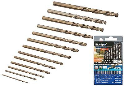 Bluespot 13 Pc Cobalt Hss Twist Drill Bits 1.5mm To 6.5mm Set Metal Wood Plastic
