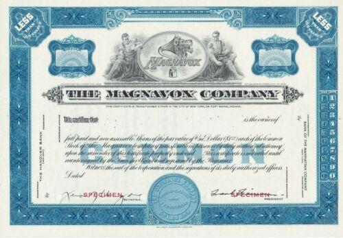 THE MAGNAVOX COMPANY SPECIMEN STOCK CERTIFICATE SCARCE ELECTRONICS