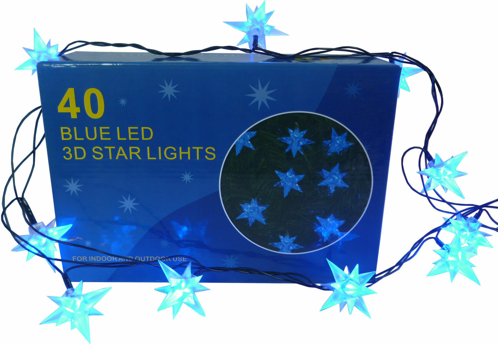 transparentes Kabel Led BLAU 11m LED Lichterkette mit 80 blauen Leds für Innen