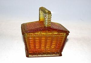 Westmoreland Glass Picnic Basket Covered Dish Handle Amber Marked