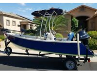 Tango Skiff 17 Foot Fishing Boat Center Console with 30 HP Outboard and Trailer
