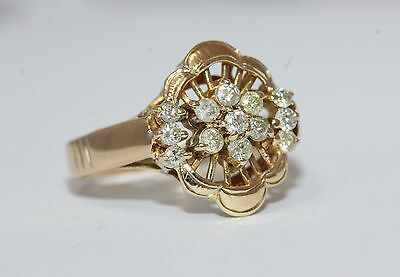 Beautiful 14ct Yellow Gold Diamond Flower Style Ring Size K 1/2