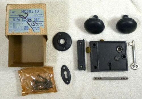 Vintage Rim Lock Set w Skeleton Key Safe Hardware Co NOS MIB