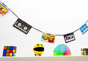 70s 80s 90s Party Decoration - Retro Cassette Tape Bunting - 160cm