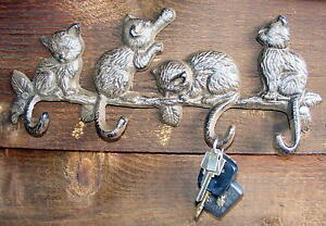 Cast iron Key Rack -  Rustic Cat Coat Hooks  -  4 Playful Cats - CI75