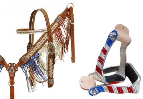 Bling! Western Saddle Horse Patriotic Leather Tack Set w/ Fringe + Stirrups