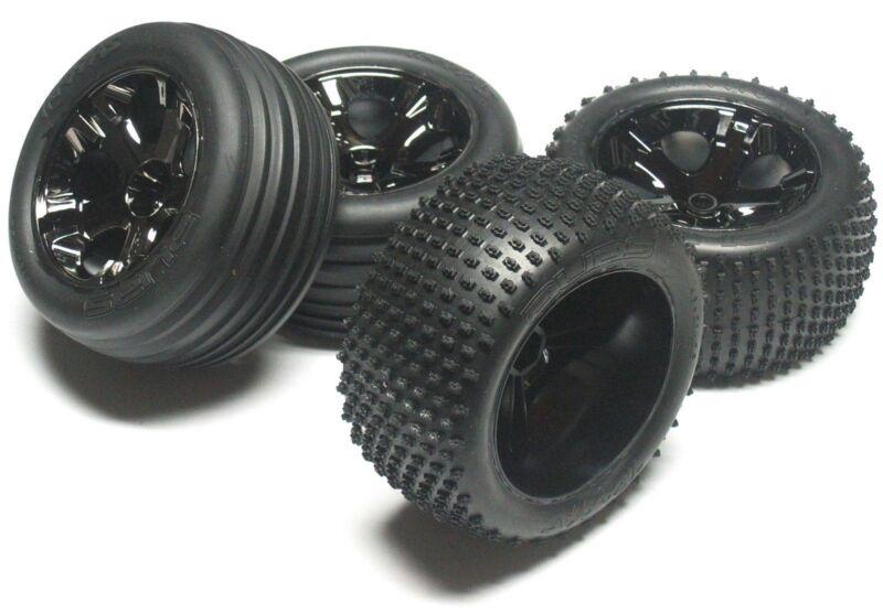 RUSTLER VXL TIRES (F/R Tyres WHEELS (4) 3770, 3772A, 5576, 5563  Traxxas 3707