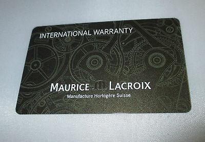 One MAURICE LACROIX Swiss Watch New Open Blank International Warranty Card