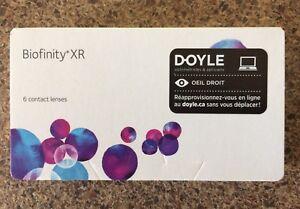 1 boîte de 6 verres de contact Biofinity XR -12,50