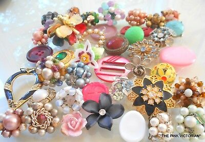 40pc VINTAGE TO MODERN jewelry earrings, PINS *CRAFT COLLECTION* embellishments