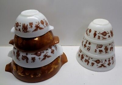 Pyrex EARLY AMERICAN PATTERN Nesting & Batter Mixing Bowls
