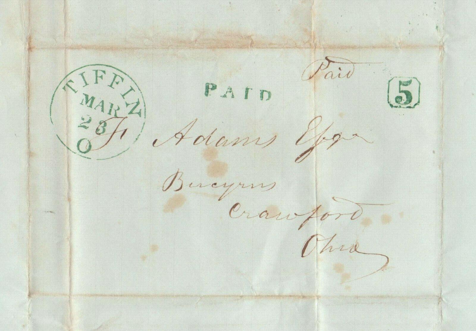 1849 SFL From 1812 War Veteran Former Congressman HENRY St. JOHN TIFFIN, OH  - $24.95