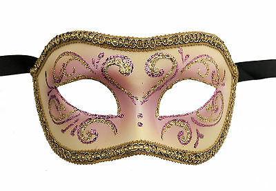 Mask Venice Colombine or Pink Civet and Golden for Fancy Dress 678 E9B