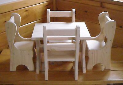Handmade Farmhouse Table and 4 Chairs for 18 inch doll