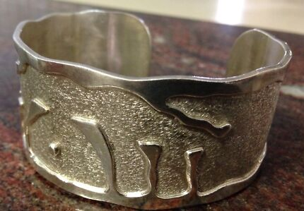 Large sterling silver vintage Cuff Bangle 925