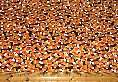 1 yard of Yellow and Orange CANDY CORN on BLACK 100% cotton fabric HALLOWEEN