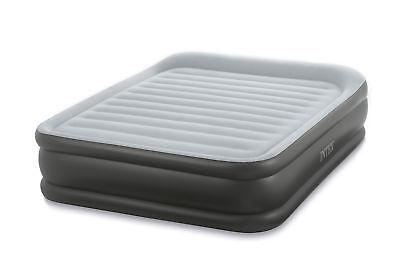 Intex Queen Deluxe Pillow Rest Fiber-Tech Airbed Raised Air Mattress with (Raised Airbed Mattress)