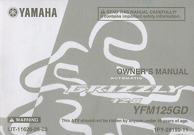 2013 YAMAHA ATV GRIZZLY 125, YFM125GD OWNERS MANUAL  LIT-11626-26-03 (508)
