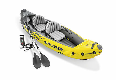 Intex 2 Person Explorer K2 Inflatable Kayak w/ Aluminum Oars & Air Pump 68307EP
