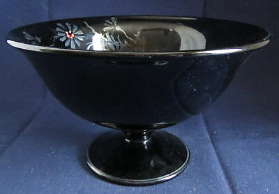 Dark Black Amethyst Ebony Glass Pedestal Bowl Silver Flowers LE Smith Fostoria