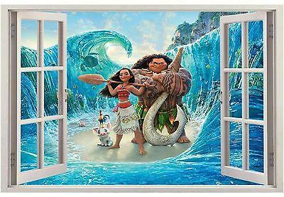 Moana 3D Window Decal Wall Sticker Home Decor Art Mural Disney Princess 2