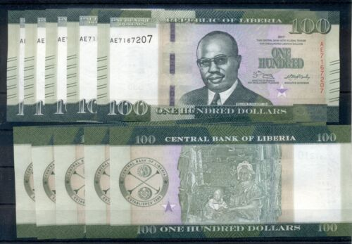 LIBERIA 100 DOLLARS UNC NOTE 2017 x 10 NOTES