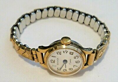 Vintage Sekonda ladies manual watch, gold tone, 17 jewels, expanding bracelet
