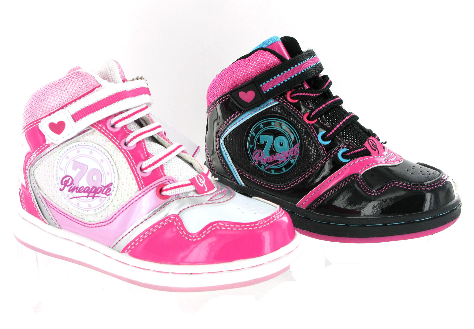 LADIES PINEAPPLE HI TOPS TRAINERS GIRLS ANKLE BASKETBALL SCHOOL BOOTS SHOES SIZE