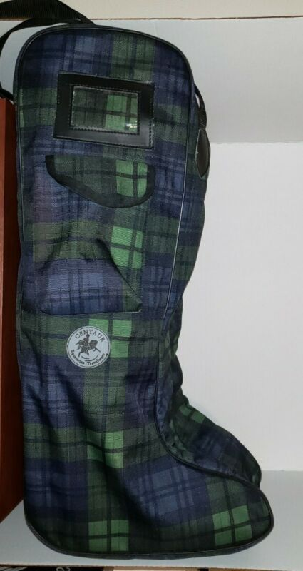 Centaur Plaid Lined Padded Tall Boot Bag - Blackwater Plaid (Navy and Green)