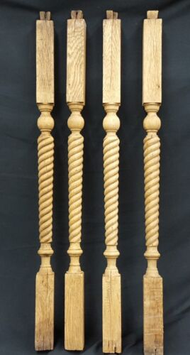 Architectural Salvage Wooden Spiral Baluster Spindles Set of 4