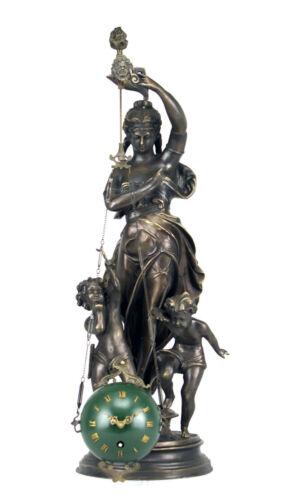 Rare Mystery Brass Lady Cherub Upside Down Chain Ball Swinger Swinging Clock