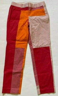 J CREW COLLECTION PANTS COLORBLOCK ANKLE STRAIGHT PINK ORANGE SIZE 0 - 29 X 26