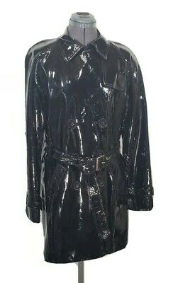 Anne Klein Black Patent 100% Leather Belted Double Breasted Trench Coat Sz M