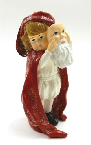 """VINTAGE 4.8"""" TALL BETHANY LOWE YOUNG CHILD HOLDING SANTA MASK CHRISTMAS ORNAMENT"""