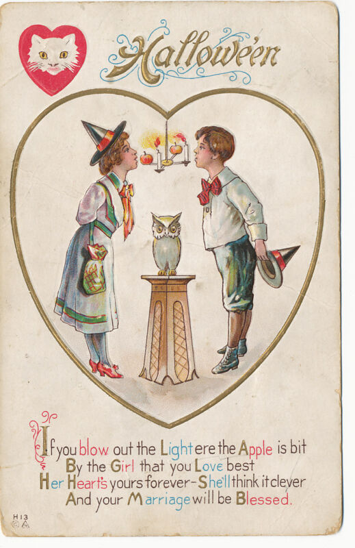 Halloween PC ca. 1908 * Costumed Girl Boy Candle Sconce  Heart   Embossed
