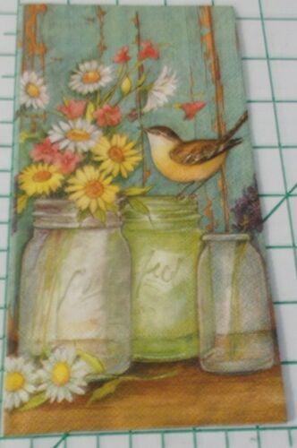 "Two Decorative Hostess Napkins for Decoupage ""Flower Jars"""