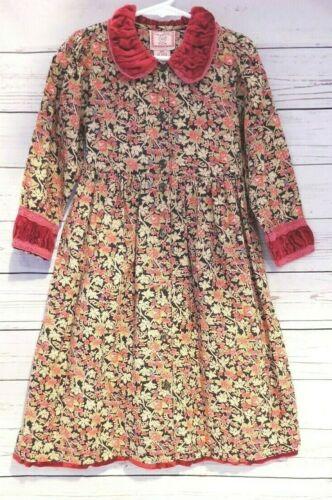 CORNELLOKI Vintage Prairie DRESS 3/4 Long Sleeve Floral Red Cotton Velvet Trim