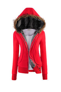 Ladies Womens Zip Up Faux Fur Hooded Short Warm Jacket Coat Hoodie UK Size 6-18