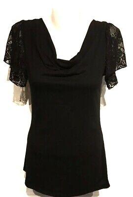 Women Gap Black Lace Short Sleeve Top Size XS X-Small Blouse Cowl Neckline Shirt Black Lace Cowl